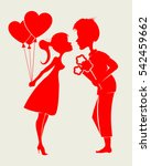 romantic silhouettes of a... | Shutterstock .eps vector #542459662