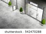 street with modern empty stores ... | Shutterstock . vector #542470288