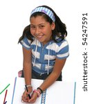 Funny and beautiful girl doing school homework - stock photo
