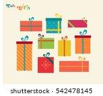 set cute gifts flat... | Shutterstock .eps vector #542478145