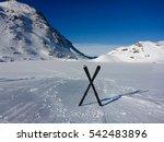 Ski Equipment On The Frozen...
