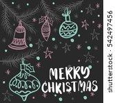 christmas greeting card ... | Shutterstock .eps vector #542497456