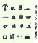 sauna accessories set. dark... | Shutterstock .eps vector #542501602