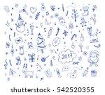 hand drawn merry christmas... | Shutterstock .eps vector #542520355