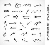 hand drawn arrows  vector set | Shutterstock .eps vector #542522062