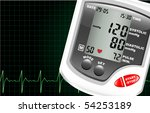 a digital blood pressure... | Shutterstock .eps vector #54253189