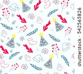 christmas seamless pattern with ... | Shutterstock .eps vector #542565826