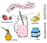 recipe of smoothie with fruit... | Shutterstock .eps vector #542579212