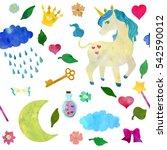 magical unicorn seamless... | Shutterstock . vector #542590012