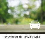 car flat icon on wooden table... | Shutterstock . vector #542594266