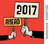 poster in hand  business... | Shutterstock .eps vector #542607226