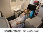 Woman Passenger Sleeping At Th...