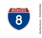 interstate highway 8 road sign  ... | Shutterstock .eps vector #542640466