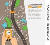 taxi mobile app concept. vector ... | Shutterstock .eps vector #542646922