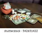 Small photo of Narcotic dependence concept.