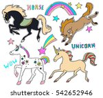 cute embroidery patches and... | Shutterstock .eps vector #542652946