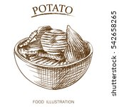 hand drawn sketch of potatoes... | Shutterstock .eps vector #542658265