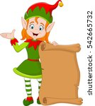 cartoon christmas elf girl... | Shutterstock .eps vector #542665732