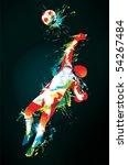 the football goalkeeper catches ... | Shutterstock .eps vector #54267484