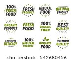 vector set labels. organic food ... | Shutterstock .eps vector #542680456