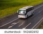 white bus goes on country... | Shutterstock . vector #542682652