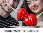 fondue of love  loving couple... | Shutterstock . vector #542683912