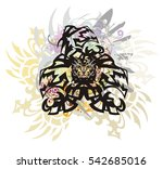 three dragon head colorful... | Shutterstock .eps vector #542685016