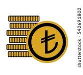 turkish lira money coins sign.... | Shutterstock .eps vector #542691802