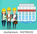 construction of hydroelectric... | Shutterstock .eps vector #542700232