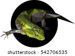 green lizard in a polygon style.... | Shutterstock .eps vector #542706535