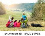 large family having trekking... | Shutterstock . vector #542714986