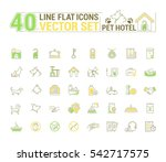 Stock vector vector graphic set icons in flat contour thin and linear design hotel for pets simple icon on 542717575