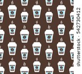 coffee seamless pattern  vector ... | Shutterstock .eps vector #542730412