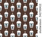 coffee seamless pattern  vector ... | Shutterstock .eps vector #542730412