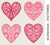 set stencil lacy hearts with... | Shutterstock .eps vector #542735806
