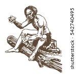 neanderthal man  homo sapiens... | Shutterstock .eps vector #542740495