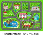 lovely city car track. play mat ... | Shutterstock .eps vector #542743558