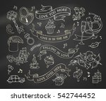 vector set of chalk valentine's ... | Shutterstock .eps vector #542744452