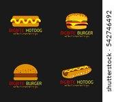 burger   hotdog restaurant logo ... | Shutterstock .eps vector #542746492