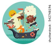 cute animals travelling by ship ... | Shutterstock .eps vector #542748196