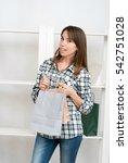 happy woman doing online... | Shutterstock . vector #542751028