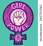 girl power feminism symbol hand ... | Shutterstock .eps vector #542751562