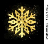 gold christmas snowflake icon.... | Shutterstock .eps vector #542764012
