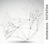 3d digital wireframe grayscale... | Shutterstock . vector #542765566