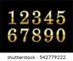 gold numbers set. golden... | Shutterstock .eps vector #542779222