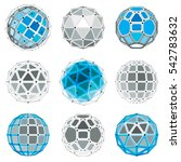set of low poly spherical... | Shutterstock . vector #542783632