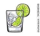 glass of gin  vodka  soda water ... | Shutterstock .eps vector #542848048