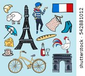 cartoon elements icons france.... | Shutterstock . vector #542881012