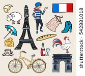 cartoon elements icons france.... | Shutterstock . vector #542881018