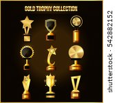 collection of gold trophy ... | Shutterstock .eps vector #542882152